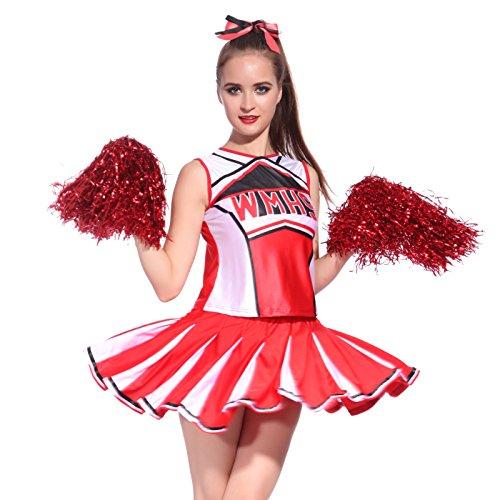 Anladia - Disfraz de Animadora para Adulto Mujer High School Color Rojo Talla 36 38 40 42 44 (XL (44))