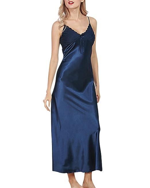 Mujer Camisón Cordón largo Camisones Satin Pijamas Babydoll Satén Lencería Ropa de Dormir: Amazon.es: Ropa y accesorios