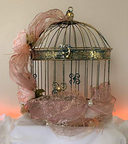 Wedding Birdcage Card Holder - Antique Green and Gold Shabby Chic Wedding Birdcage Card Holder - Wedding Gift Card Holder - READY TO SHIP ()