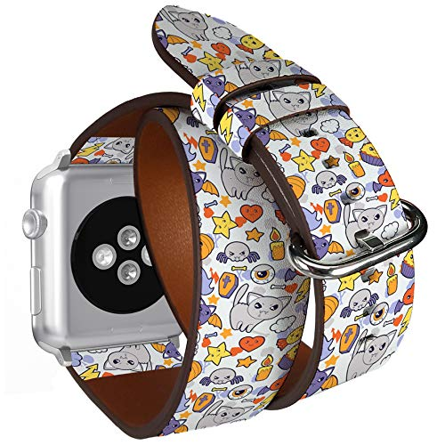 Compatible with Apple Watch (Small 38mm/40mm) Series 1,2,3,4 - Double Tour Bracelet Strap Wristband Smart Watch Band Replacement - Halloween Kawaii Cute -