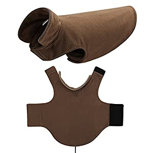 FOREYY Reflective Dog Fleece Coat with Velcro Closure and Leash Attachment Hole - Dogs Pet Autumn Winter Jacket Sweater Vest Apparel Clothes for Small Medium and Large Dogs(Brown,M)