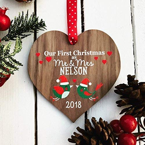 our first christmas as mr and mrs married wedding decoration couples gift personalised