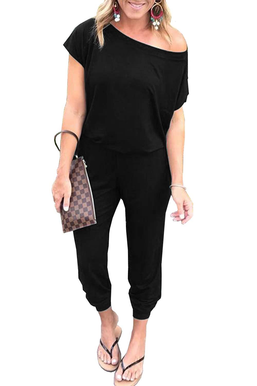 PRETTYGARDEN Women Casual Short Sleeve One Shoulder Solid Waisted Long Jumpsuit Romper Black by PRETTYGARDEN
