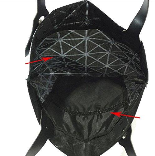 PU Leather Diamond Split Checkered Geometric Blue Womens Bag Tote Joint Otcqa