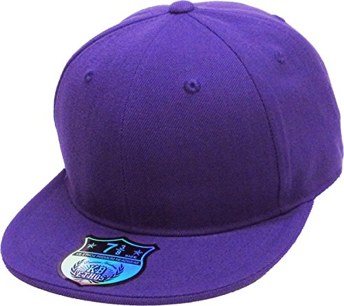 Purple Fitted Hat Cap - KBETHOS KNW-2364 PUR (7 1/4) The Real Original Fitted Flat-Bill Hats True-Fit, 9 Sizes & 20 Colors