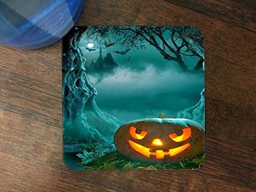 Trendy Accessories Halloween Pumpkin Foggy Night Design Pattern Print Silicone Drink Beverage Coaster 4 (Awesome Pumpkin Designs Halloween)