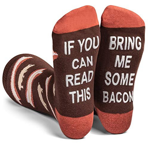 Lavley - Mens Novelty Socks - Funny Novelty Dress Socks For Men and Women (Bacon) (They Say That All Good Things Must End)