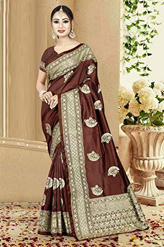 Brown Color Indian Traditional Designer Sarees Facioun For Women Da Sari Wear Party P5q4wzS