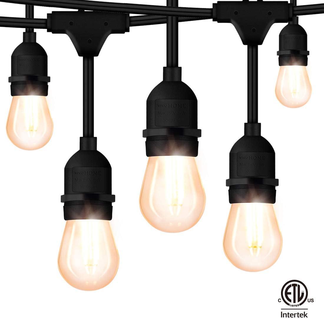 VIVOHOME 48FT Waterproof LED String Lights, 15 PCS of 2W E26 S14 Bulbs, 120V, ETL Safety Standard Certified