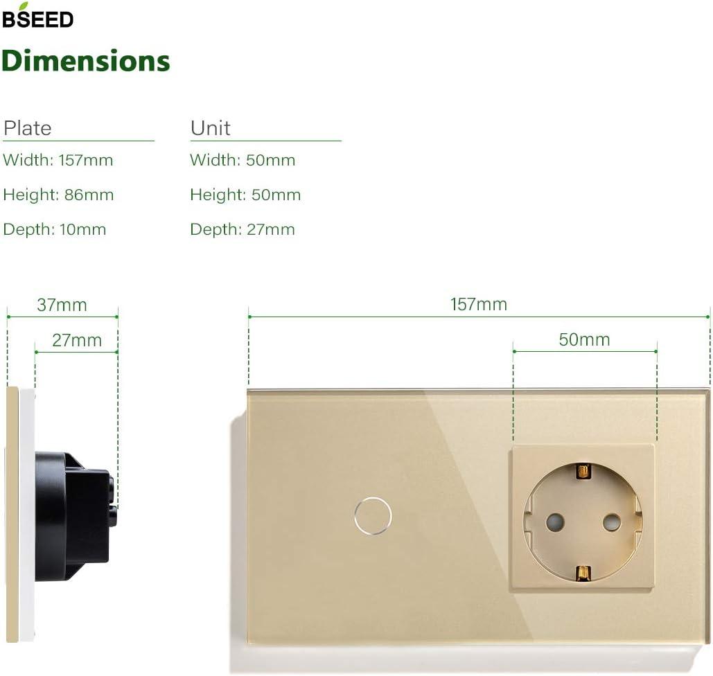 Se requiere Conductor Neutro Sin WIFI 1 gang 1 way Blanco BSEED 157 * 86 mm Marco DE cristal DE la UE e Interruptor de Luz de Pared con Sensor T/áctil WIFI