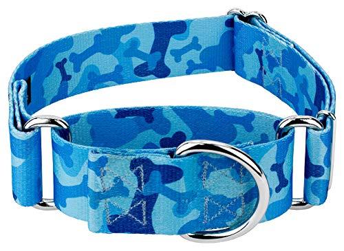Country Brook Design - 1 1/2 Inch Blue Bone Camo Martingale Dog Collar - Large