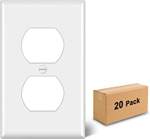 [20 Pack] BESTTEN 1-Gang Duplex Receptacle Outlet Wall Plate, Standard Size, Unbreakable Polycarbonate Outlet and Switch Cover, UL Listed, White