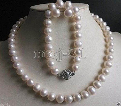 8-9mm Genuine White Freshwater Cultured Pearl Necklace Bracelet Earrings Set ()
