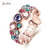 Ravishing jewelry rose gold Multi color Czech Drill New Hot Popular Ring for women size 6 7 8 R2151