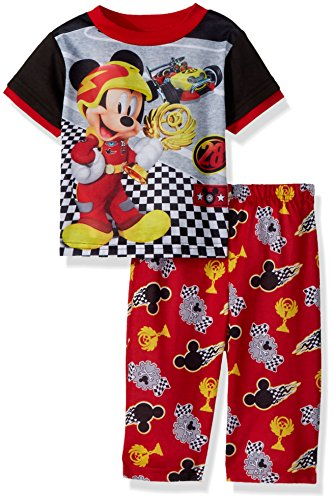 Disney Baby Boys Mickey Mouse 2-Piece Pajama Set, Racer Track Red, 18M - Kid 2 Piece Pjs