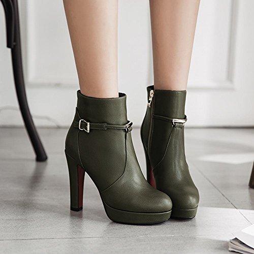 Mee Shoes Damen high heels Plateau Reißverschluss Stiefeletten Grün
