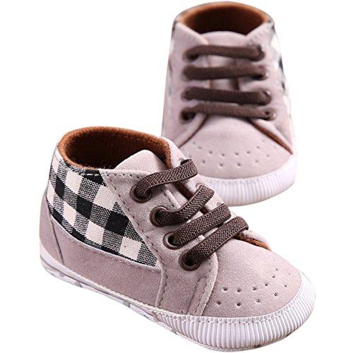 Etrack-Online Baby Sneakers - Zapatos primeros pasos de Lona para niño gris