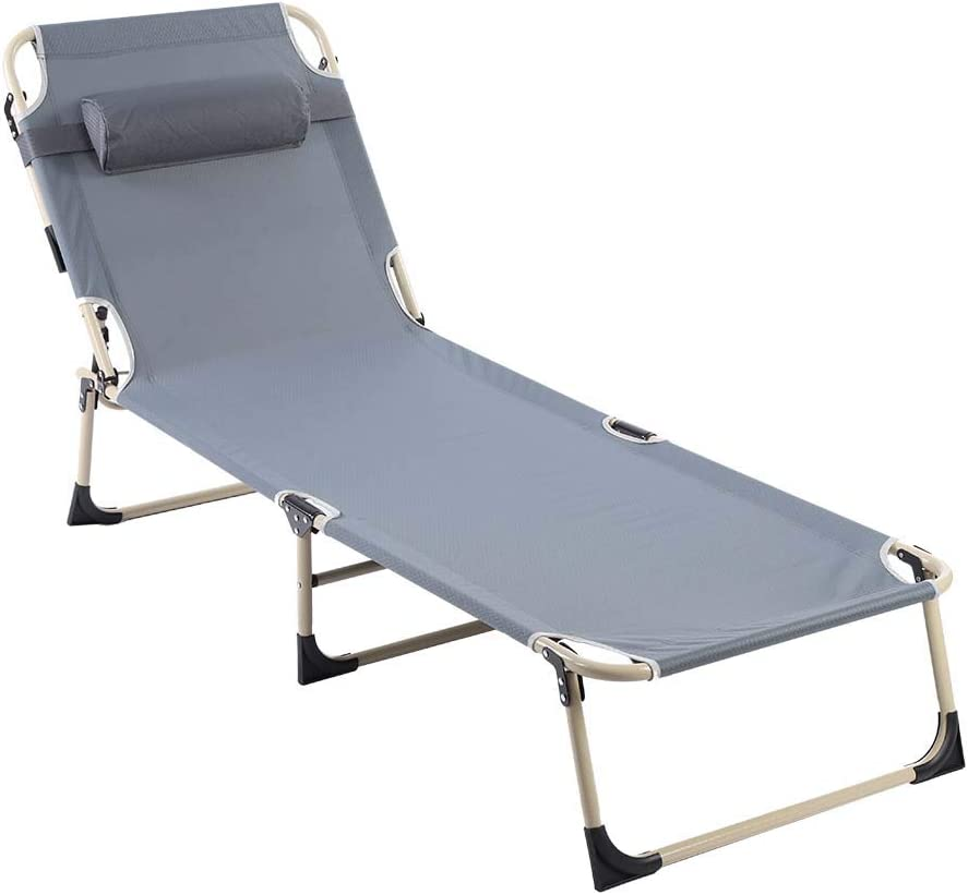 Folding Lounge Chair, Portable Adjustable Recliner Reclining Chaise Lounge Chair for Beach Camping Outdoor Picnic Office Home Patio Deck Yard Pool with Pillow Grey