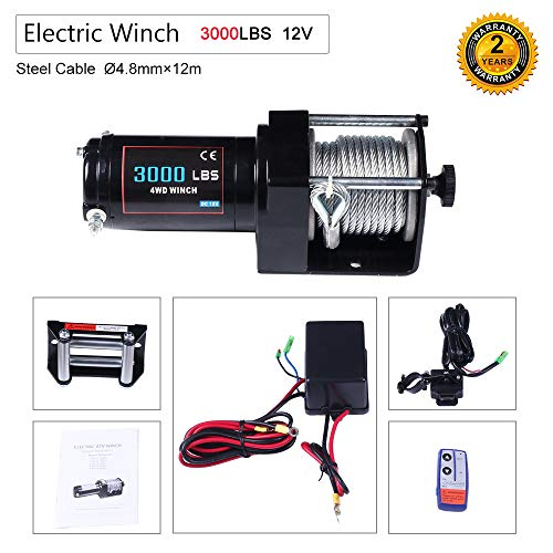 (OCPTY Winches Waterproof Offroad 3000 lbs Load 12V 24V Electric Winch with Wireless Remote Control+Control Box+Roller Fairlead+Switch Assembly+Bolts+Users Manual)
