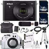 Nikon 1 J4 Mirrorless Digital Camera with 10-30mm Lens (Black) (International Model No Warranty) + Nikon WP-N3 Waterproof Housing + EN-EL22 Battery + 80GB Total Memory + 6AVE Bundle
