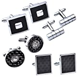 JOVIVI 4Pairs Stainless Steel Mens Classic Modern Ornate Pattern Style Dress Shirt Cufflinks Mix Design Set (Black)