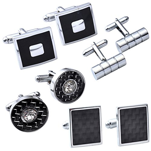 JOVIVI 4Pairs Stainless Steel Mens Classic Modern Ornate Pattern Style Dress Shirt Cufflinks Mix Design Set (Black) by Jovivi