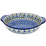 Polish Pottery 6.5'' Handmade Round Au Gratin For One 142- Lemon Drops