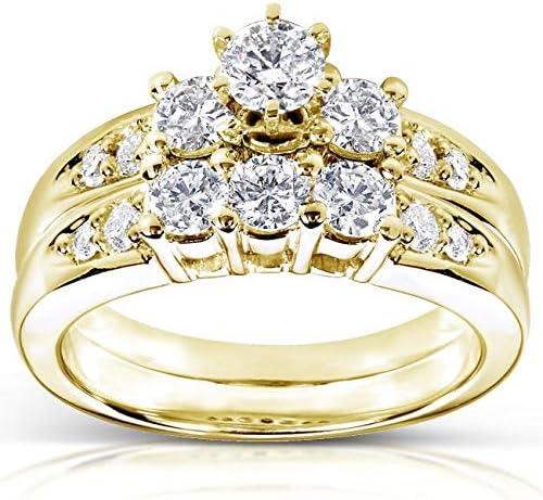 Kobelli Diamond Wedding Set 1 carat (ctw) in 14K Yellow Gold