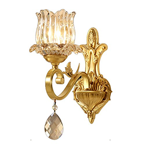 European-Style Wall Lamp Simple Copper Crystal Glass Golden Bronze Luxury Atmosphere E14 Living Room Restaurant Study Bath Corridor Bedroom Single Head Double Head MUMUJIN