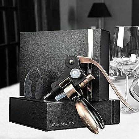 Juego de sacacorchos de vino, diseño de conejo, sacacorchos, con cuchillo de aluminio, accesorios para vino, con caja de regalo