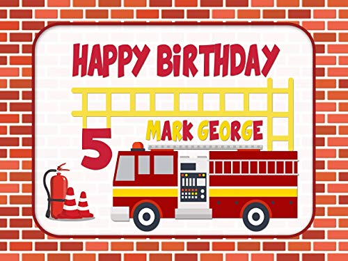Custom Home Décor Firetruck Birthday Poster, Personalized Fireman Party, Fire Engine, Firefighter, Fire rescue Birthday Banner Wall Décor, Handmade Party Supply Poster Print Size 24x36, 48x24, 48x36 - Fire Engine Stripe