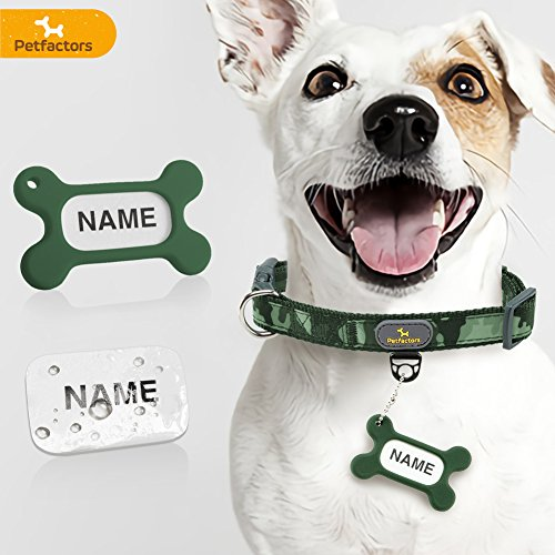 Petfactors Pet 10 Patterns Soft & Comfy Adjustable Dog Collar with Personalized DIY Dog Tags, Matching Leash & Harness Available Separately (Medium, Woodland Camo) ()
