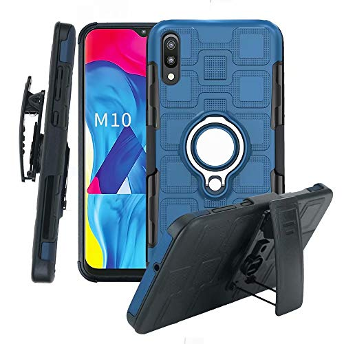 Lantier High Impact 3 Layer Hybrid Full Shockproof Armor Rugged Holster Protection Case with Kickstand Magnet 360 Degree Rotating Ring Belt Swivel Clip for Samsung Galaxy M10 Dark -