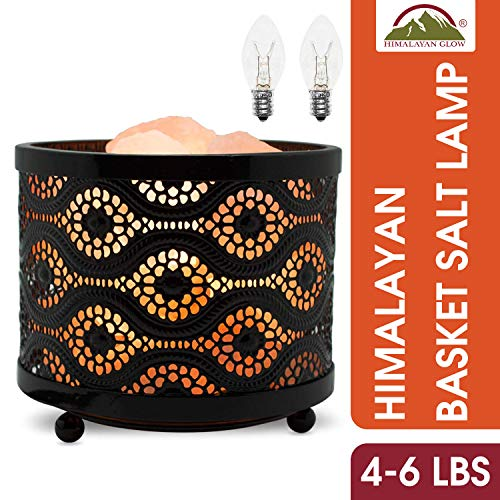 Himalayan Glow Moroccan Style Metal Basket Night Light with Pink Salt Chunks,Salt Lamp Bulb,(ETL Certified) Dimmer Switch,Unique Lightening Ambiance - 2 Extra Bulbs