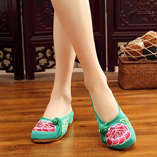 Pivoine Casual en Ricamo Vert Pantoufles Chaussures Chaussures À Respirantes Fanwer Été Mignon Rouge Mode La C5wEq7qnT