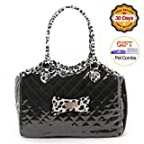 Dog Carrier Purse Pet Travel Bag Cat Portable Handbag - Soft Sided Tote with 2 Fleece Pads for Small Pets - Come with a Pet Comb - Up to 15lbs - Easy to Storage - Go Hiking Shopping with Your Doggy (black)