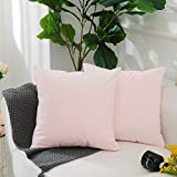 Decorative Pillow Cover - Home Brilliant 2 Pack Valentines Pillow Covers Short Plush Velvet Decorative Square Throw Pillow Cases Cover Cushion Covers for Sofa/Couch, Ultra Soft, 18 x 18(45x45cm), Baby Pink