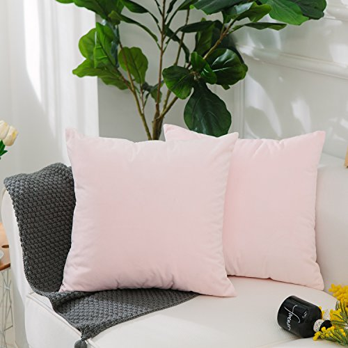 HOME BRILLIANT 2 Pack Velvet Decorative Square Throw Pillow Cases Cover Cushion Covers for Sofa/Couch, Ultra Soft, 18 x 18(45x45cm), Pastel -