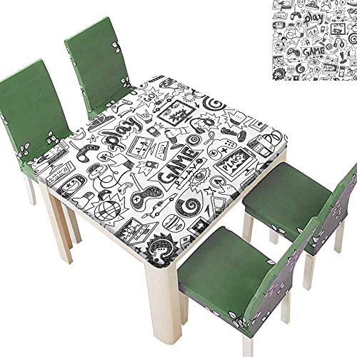 Polyester Fabric Tablecloth Black and White Sketch Style Gam