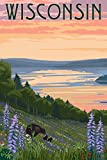 Wisconsin - Lake and Bear Family (12x18 Collectible Art Print, Wall Decor Travel Poster)