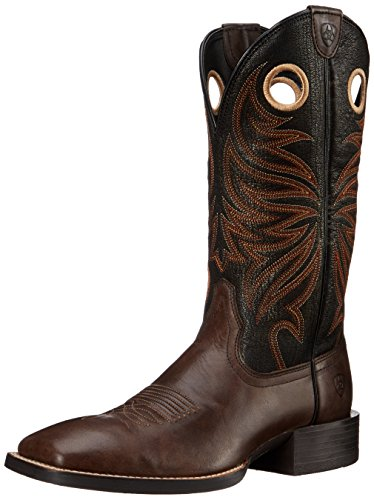 Ariat Men's Sport Rider Wide Square Toe Western Cowboy Boot, Chocolate/Black, 11 D US