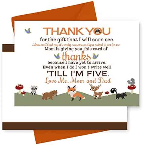 15 Woodland Thank You Cards with Orange Envelopes - Stationery for Baby Shower - Boys or Girls - Rustic Party Theme
