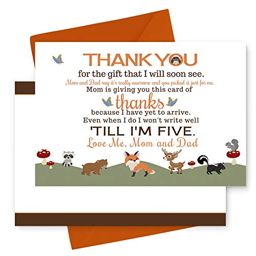 (15 Woodland Thank You Cards with Orange Envelopes - Stationery for Baby Shower - Boys or Girls - Rustic Party Theme)