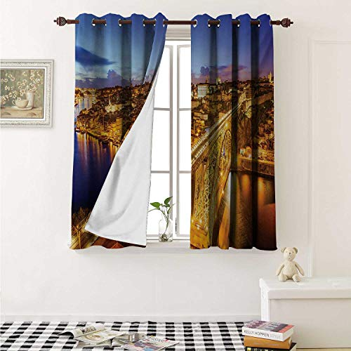 Flyerer City Waterproof Window Curtain Porto Dom Luis Bridge at Night River Portuguese Coast Mediterranean View Curtains for Party Decoration W84 x L72 Inch Apricot Violet Blue]()