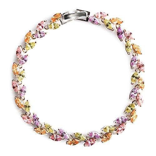 (Me&Hz Multicolor Crystal Bracelet Pink Citrine Purple Crystal Tennis Bracelets Colorful Cubic Zirconia Bracelet)
