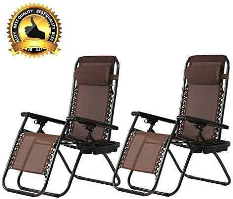 Set of 2 Zero Gravity Chairs Reclining Folding Chairs Yard Bench with Holder BestMassage