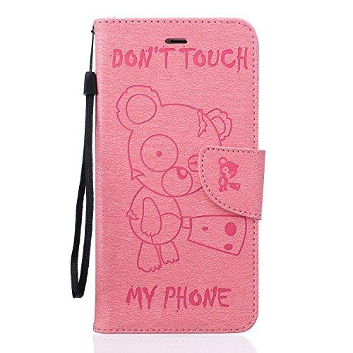 Für Apple iPhone 6 plus (5.5 Zoll) Tasche ZeWoo® Ledertasche Kunstleder Brieftasche Hülle PU Leder Schutzhülle Case Cover - BF067 / Rosa Bär