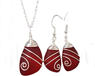 """product image for Handmade in Hawaii,Top Wire Wrapped Ruby Red""""July Birthstone"""" sea glass Necklace+Earrings Set, (Hawaii Gift Wrapped, Customizable Gift Message)"""
