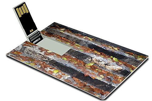 Luxlady 32GB USB Flash Drive 2.0 Memory Stick Credit Card Size IMAGE ID 21073438 Fall leaves on the wet steps - Wet Location Step