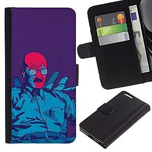 LECELL--Cuero de la tarjeta la carpeta del tirón Smartphone Slots Protección Holder For Apple Iphone 6 PLUS 5.5 -- Azul Meth Rey --